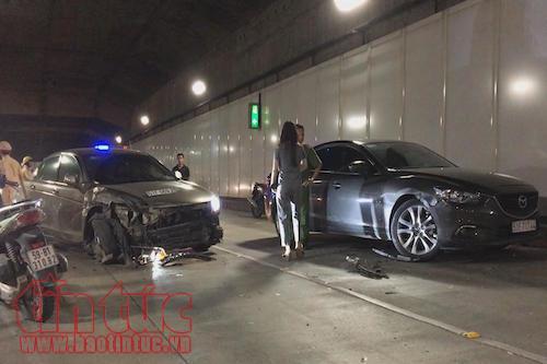 Ô tô đi ngược chiều trong hầm vượt sông Sài Gòn gây tai nạn liên hoàn - Ảnh 3.